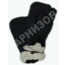 Рукавицы трехпалые из натурального меха черного цвета
