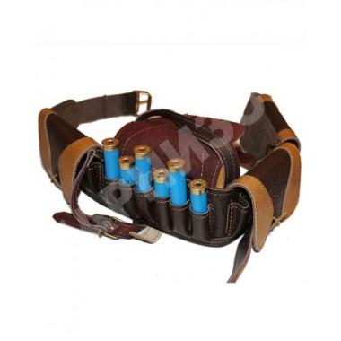 Патронтаж кожаный коричневого цвета закрытый 21-2